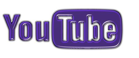 violet and white logo of YouTube