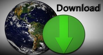 globe and green arrow, www download, illustration