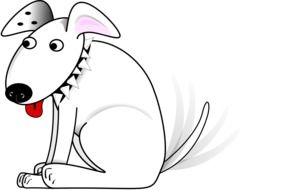 happy dog wagging tail, illustration