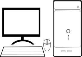 drawn white computer with keyboard and mouse