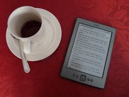 cup of coffee and e-book