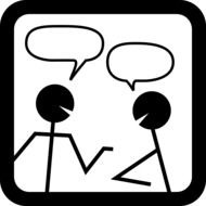 chat, stick men with speech bubbles, icon