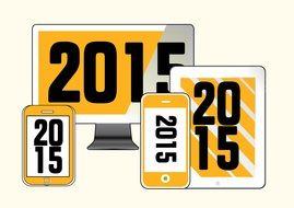smartphones with new year 2015 wallpaper