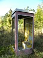 phone booth old leave nature