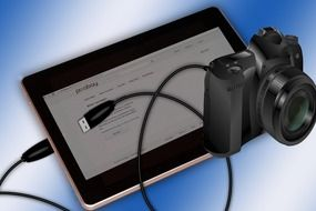 tablet and camera as a graphic image