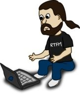 graphic image of a bearded man with a laptop