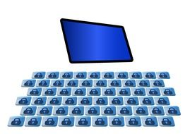 graphic image of a monitor with a blue screen and keyboard