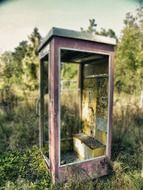 phone booth old nature leave ruin