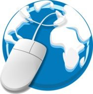 computer mouse on a blue globe as a graphic image