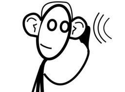 Black and white drawing of hearing clipart