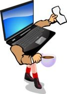 drawing of a laptop with arms and legs