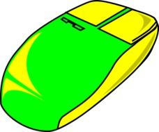 painted yellow-green computer mouse