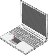 drawing of a laptop with dark screen