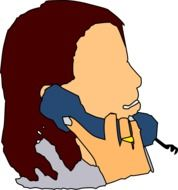 Woman is talking on the phone clipart