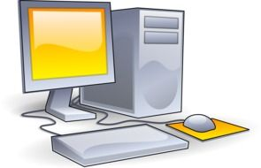 graphic image of a computer with yellow fragments
