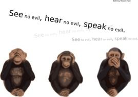 monkeys see hear speak no evil drawing