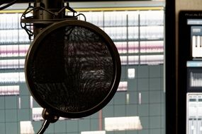 microphone in a sound studio