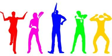 Colorful dancing people clipart