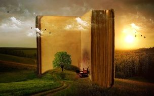 open book in nature is a fantastic drawing