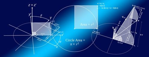 formulas for mathematical calculations on a blue background