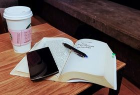 smartphonem, book and coffee