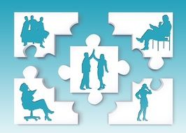 silhouettes of people on the puzzle