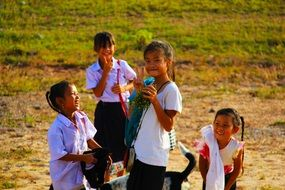 school kids children smiling young girls