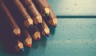 wooden trimmed colored pencils