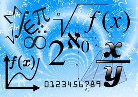 mathematical formulas and signs drawing