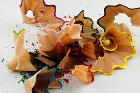 wooden shavings from colored pencils
