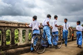 group of students in rural areas in India