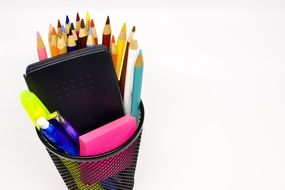 Colorful school supplies in box