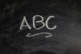 inscription ABC on a blackboard