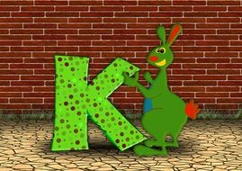 letters k and kangaroo drawing