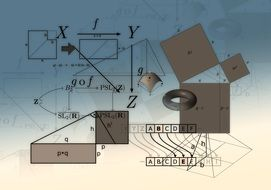 Formulas and geometric figures on a gray-blue background