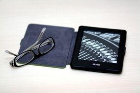 e-book for reading and glasses