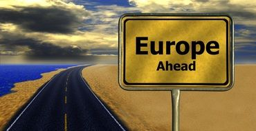 road sign Europe ahead