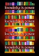 books and text knowledge is power drawing