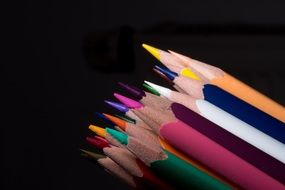 set of colored wooden pencils