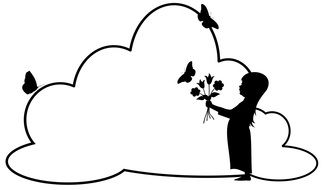 Silhouette of a little girl with a bouquet on the background of a cloud