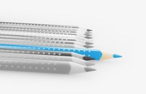light blue pencil on black and white background of colored pencils