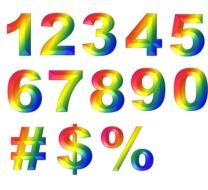 multicolored numbers and symbols