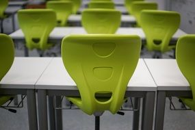 classroom school desk green chair