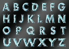 alphabet letters on the black board