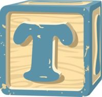 drawn cube with the letter T