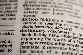 dictionary words text