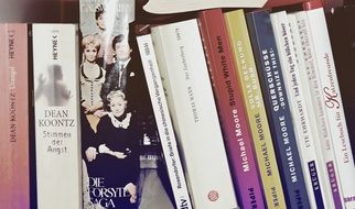 celebrity books on the library shelf