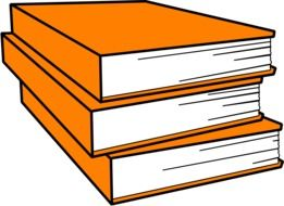 books pile orange drawing