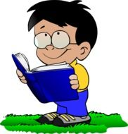 drawing of a boy with an open book