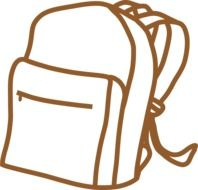 Brown school backpack clipart